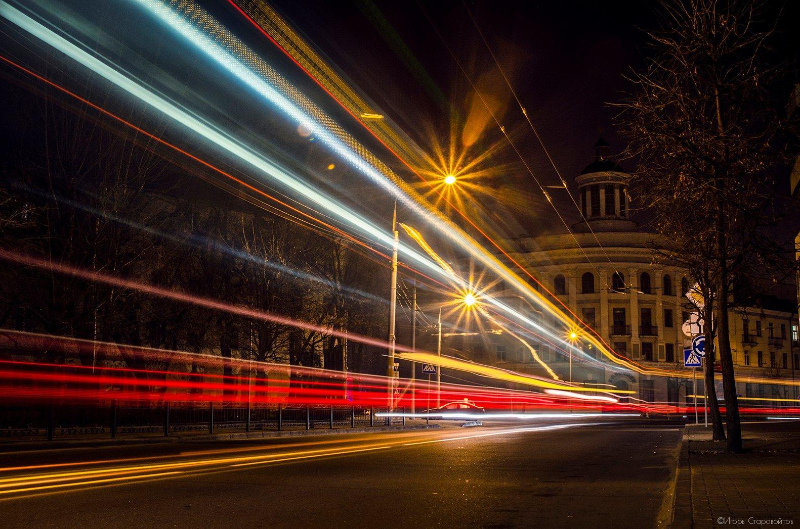 Вечерние огни Бобруйска. Улица Советская