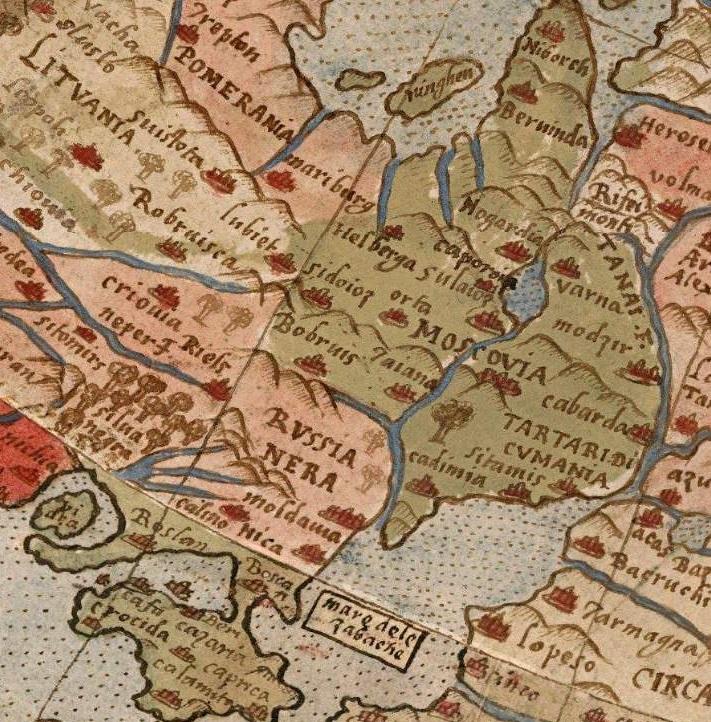 Бобруйск на карте Урбано Монте, 1587 год.