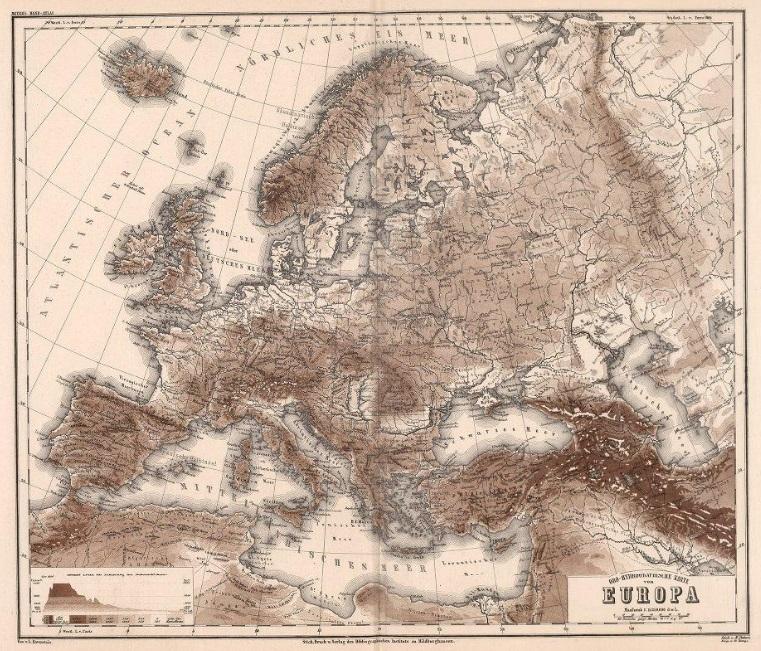 Карта Европы, изданная в 1872 году.